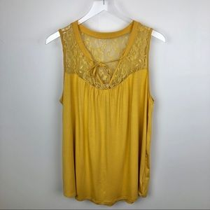 Torrid Super Soft Swing Lace Tank Gold